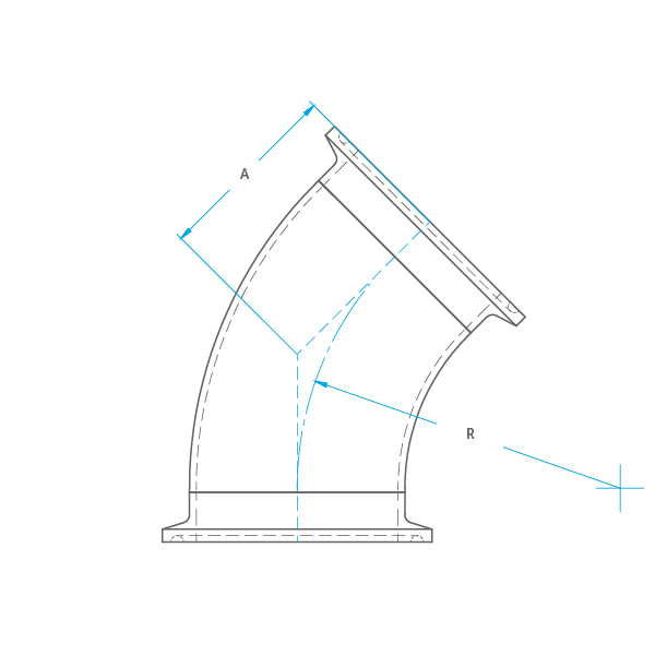 45° 2KMP Clamp Bend Drawing